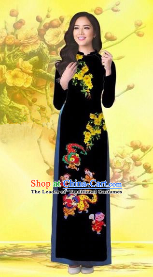Traditional Top Grade Asian Vietnamese Costumes Classical Printing Flowers Wedding Black Full Dress, Vietnam National Ao Dai Dress Catwalks Bride Qipao for Women