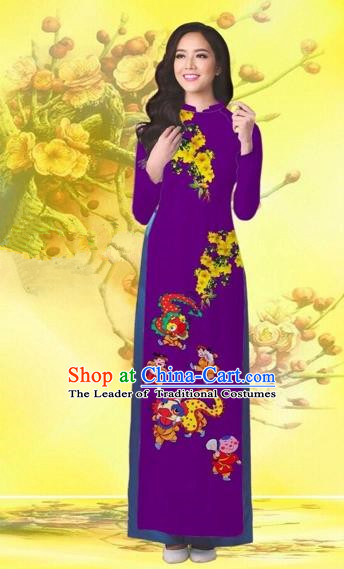 Traditional Top Grade Asian Vietnamese Costumes Classical Printing Flowers Wedding Purple Full Dress, Vietnam National Ao Dai Dress Catwalks Bride Qipao for Women
