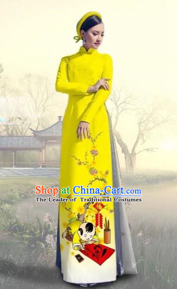 Traditional Top Grade Asian Vietnamese Costumes Classical Printing New Year Full Dress, Vietnam National Ao Dai Dress Catwalks Yellow Qipao for Women
