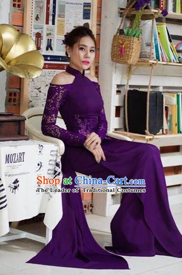 Traditional Top Grade Asian Vietnamese Costumes Classical Full Dress, Vietnam National Ao Dai Dress Catwalks Purple Lace Qipao for Women