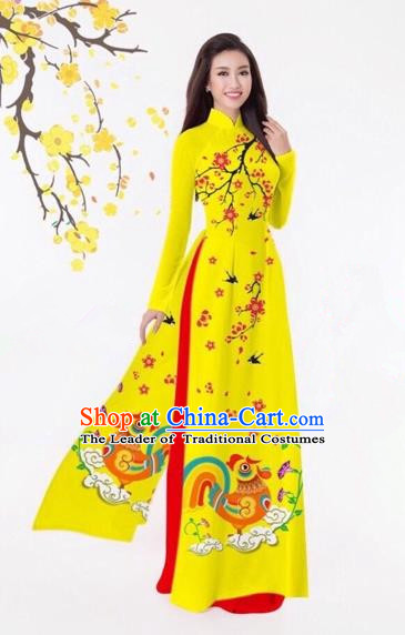 Traditional Top Grade Asian Vietnamese Costumes Classical Printing Yellow Full Dress, Vietnam National Ao Dai Dress Catwalks Debutante Qipao for Women