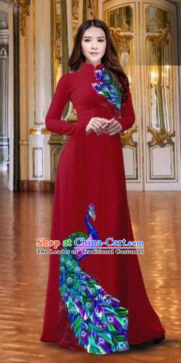 Traditional Top Grade Asian Vietnamese Costumes Classical Printing Peacock Wine Red Full Dress, Vietnam National Ao Dai Dress Catwalks Debutante Qipao for Women