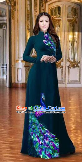 Traditional Top Grade Asian Vietnamese Costumes Classical Printing Peacock Atrovirens Full Dress, Vietnam National Ao Dai Dress Catwalks Debutante Qipao for Women