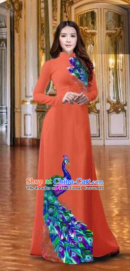 Traditional Top Grade Asian Vietnamese Costumes Classical Printing Peacock Orange Full Dress, Vietnam National Ao Dai Dress Catwalks Debutante Qipao for Women