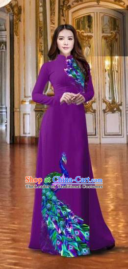 Traditional Top Grade Asian Vietnamese Costumes Classical Printing Peacock Purple Full Dress, Vietnam National Ao Dai Dress Catwalks Debutante Qipao for Women