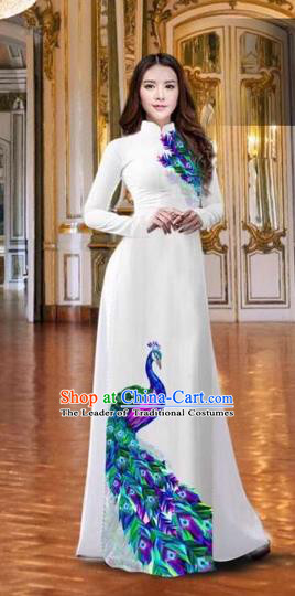 Traditional Top Grade Asian Vietnamese Costumes Classical Printing Peacock White Full Dress, Vietnam National Ao Dai Dress Catwalks Debutante Qipao for Women