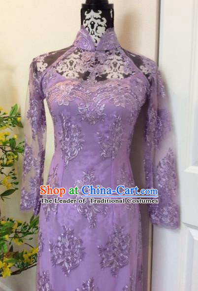 Traditional Top Grade Asian Vietnamese Costumes Classical Purple Lace Full Dress, Vietnam National Ao Dai Dress Catwalks Debutante Qipao for Women