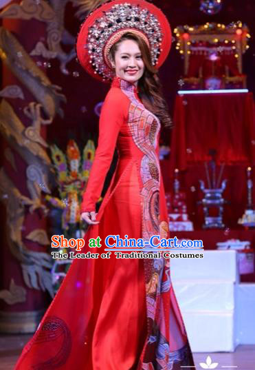 Traditional Top Grade Asian Vietnamese Costumes Classical Printing Wedding Full Dress, Vietnam National Ao Dai Dress Bride Red Stand Collar Qipao for Women
