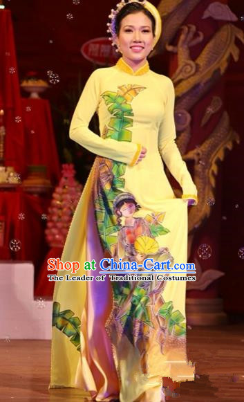 Traditional Top Grade Asian Vietnamese Costumes Classical Printing Wedding Full Dress, Vietnam National Ao Dai Dress Bride Yellow Stand Collar Qipao for Women