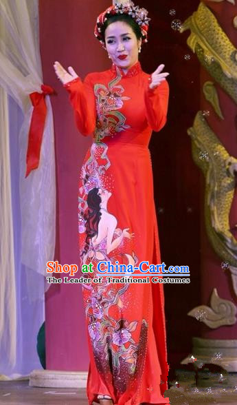 Traditional Top Grade Asian Vietnamese Costumes Classical Printing Wedding Full Dress, Vietnam National Ao Dai Dress Bride Red Qipao for Women