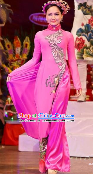 Traditional Top Grade Asian Vietnamese Costumes Classical Printing Wedding Full Dress, Vietnam National Ao Dai Dress Bride Pink Qipao for Women