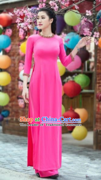 Traditional Top Grade Asian Vietnamese Costumes Classical Dowager Full Dress, Vietnam National Ao Dai Dress Bride Rosy Qipao for Women