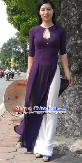 Traditional Top Grade Asian Vietnamese Costumes Classical Full Dress and Loose Pants, Vietnam National Ao Dai Dress Purple Qipao for Women
