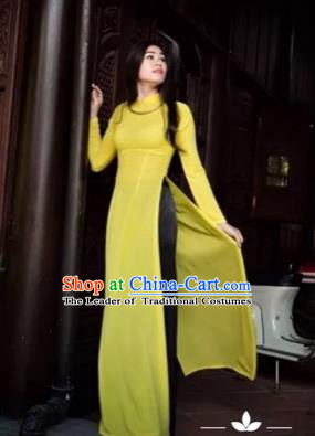 Traditional Top Grade Asian Vietnamese Costumes Classical Full Dress and Loose Pants, Vietnam National Ao Dai Dress Yellow Qipao for Women