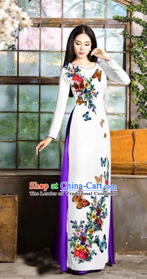 Traditional Top Grade Asian Vietnamese Costumes Classical Love of Butterfly Full Dress, Vietnam National Ao Dai Dress White Qipao for Women