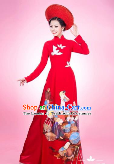 Traditional Top Grade Asian Vietnamese Costumes Classical Printing Full Dress and Loose Pants, Vietnam National Ao Dai Dress Red Qipao for Women