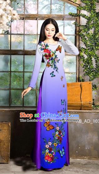 Traditional Top Grade Asian Vietnamese Costumes Classical Love of Butterfly Full Dress, Vietnam National Ao Dai Dress Purple Qipao for Women