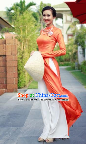 Traditional Top Grade Asian Vietnamese Costumes Classical Full Dress, Vietnam National Ao Dai Dress Orange Qipao for Women