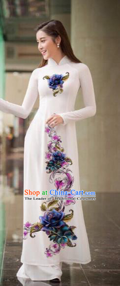 Traditional Top Grade Asian Vietnamese Costumes Classical Printing Flowers Full Dress, Vietnam National Ao Dai Dress White Qipao for Women