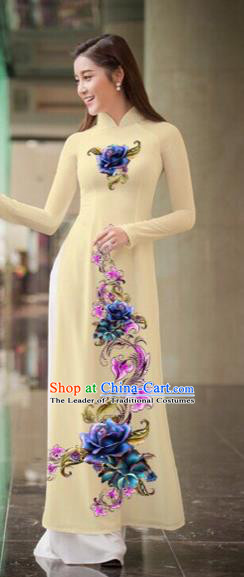 Traditional Top Grade Asian Vietnamese Costumes Classical Printing Flowers Full Dress, Vietnam National Ao Dai Dress Beige Qipao for Women