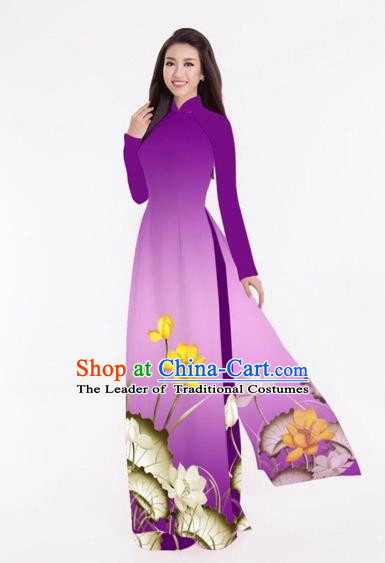 Traditional Top Grade Asian Vietnamese Costumes Classical Printing Lotus Full Dress, Vietnam National Ao Dai Dress Catwalks Purple Qipao for Women