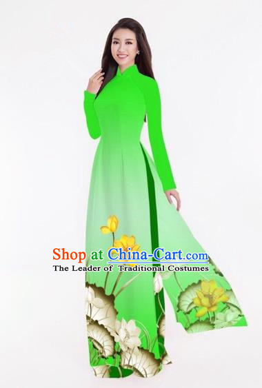 Traditional Top Grade Asian Vietnamese Costumes Classical Printing Lotus Full Dress, Vietnam National Ao Dai Dress Catwalks Green Qipao for Women