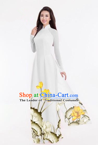 Traditional Top Grade Asian Vietnamese Costumes Classical Printing Lotus Full Dress, Vietnam National Ao Dai Dress Catwalks White Qipao for Women