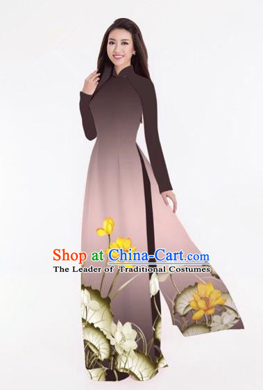 Traditional Top Grade Asian Vietnamese Costumes Classical Printing Lotus Full Dress, Vietnam National Ao Dai Dress Catwalks Coffee Qipao for Women