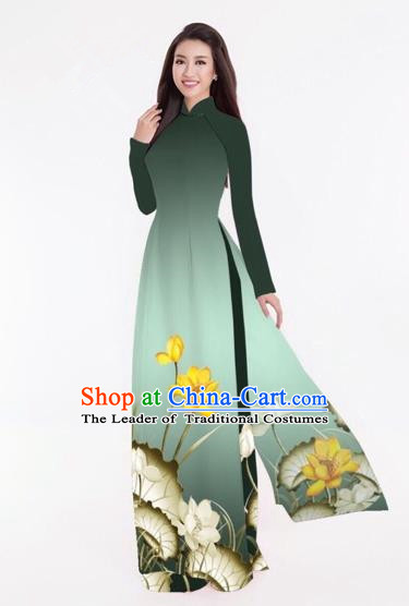 Traditional Top Grade Asian Vietnamese Costumes Classical Printing Lotus Full Dress, Vietnam National Ao Dai Dress Catwalks Atrovirens Qipao for Women