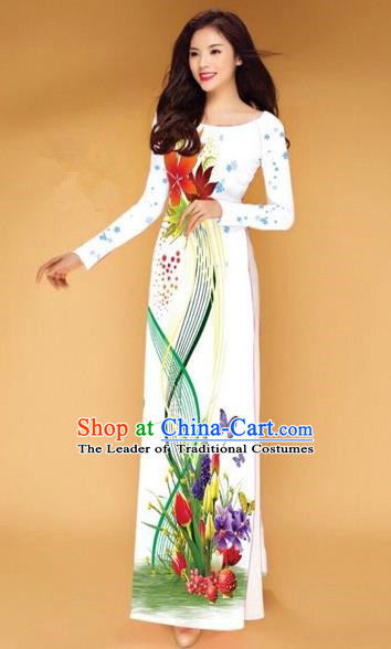 Traditional Top Grade Asian Vietnamese Costumes Classical Printing Butterfly Flowers Full Dress, Vietnam National Ao Dai Dress Catwalks White Qipao for Women