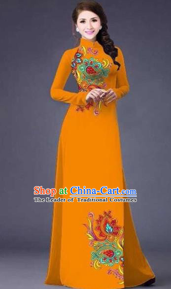 Traditional Top Grade Asian Vietnamese Costumes Classical Printing Flowers Pattern Full Dress, Vietnam National Ao Dai Dress Catwalks Ginger Qipao for Women