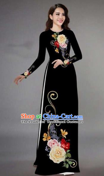 Traditional Top Grade Asian Vietnamese Costumes Classical Printing Peony Pattern Full Dress, Vietnam National Ao Dai Dress Catwalks Black Qipao for Women