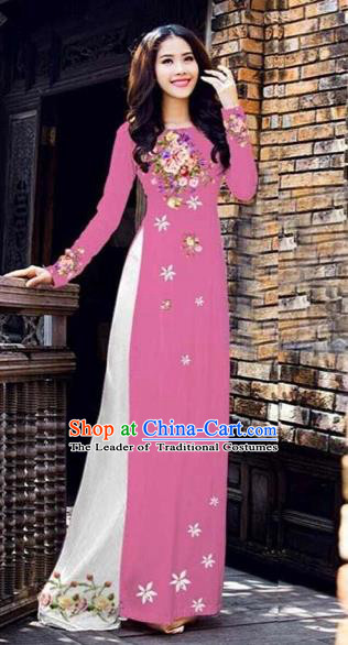 Traditional Top Grade Asian Vietnamese Costumes Classical Printing Peony Pattern Full Dress, Vietnam National Ao Dai Dress Catwalks Pink Qipao for Women