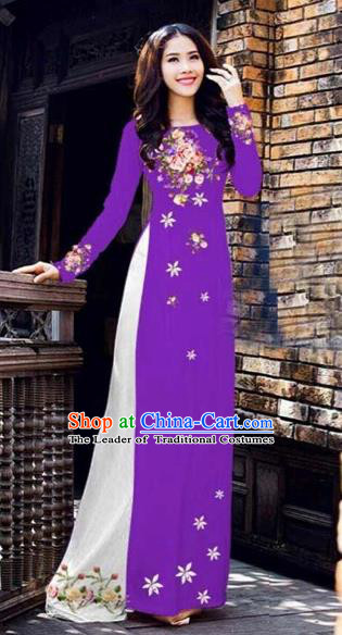 Traditional Top Grade Asian Vietnamese Costumes Classical Printing Peony Pattern Full Dress, Vietnam National Ao Dai Dress Catwalks Purple Qipao for Women