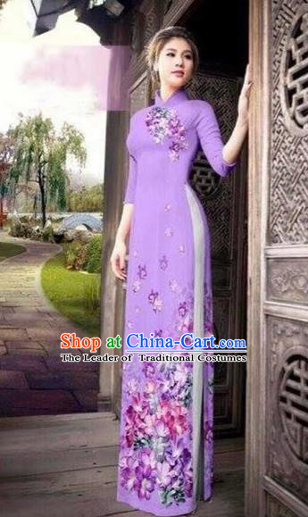 Traditional Top Grade Asian Vietnamese Costumes Classical Printing Flowers Silk Full Dress, Vietnam National Ao Dai Dress Catwalks Lilac Qipao for Women