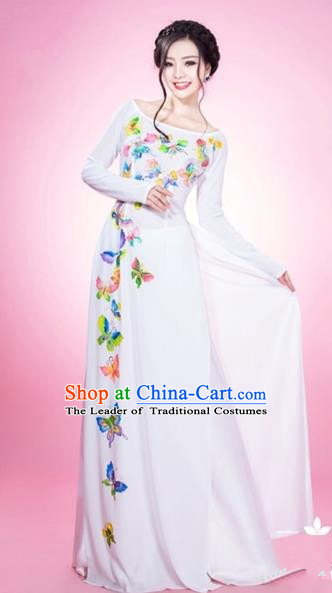 Traditional Top Grade Asian Vietnamese Costumes Classical Printing Butterfly Full Dress and Loose Pants, Vietnam National Ao Dai Dress White Qipao for Women