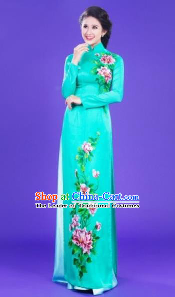 Traditional Top Grade Asian Vietnamese Costumes Classical Painting Flowers Full Dress, Vietnam National Ao Dai Dress Catwalks Blue Qipao for Women