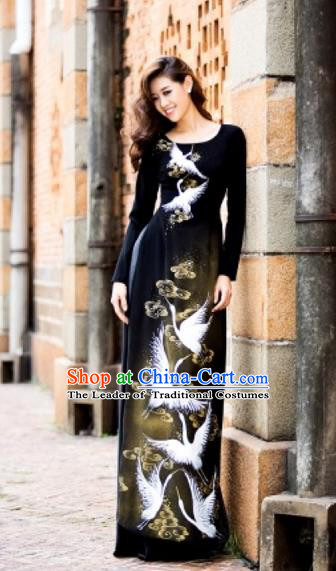 Traditional Top Grade Asian Vietnamese Costumes Classical Painting Cranes Full Dress, Vietnam National Ao Dai Dress Catwalks Black Qipao for Women