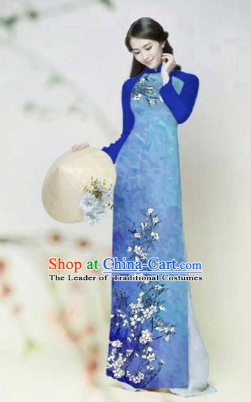 Traditional Top Grade Asian Vietnamese Costumes Classical Printing Plum Blossom Full Dress, Vietnam National Ao Dai Dress Catwalks Blue Qipao for Women