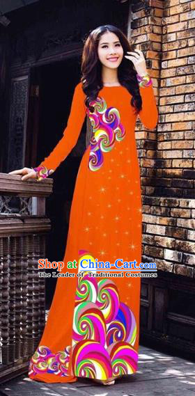 Traditional Top Grade Asian Vietnamese Costumes Classical Printing Full Dress, Vietnam National Ao Dai Dress Catwalks Orange Qipao for Women