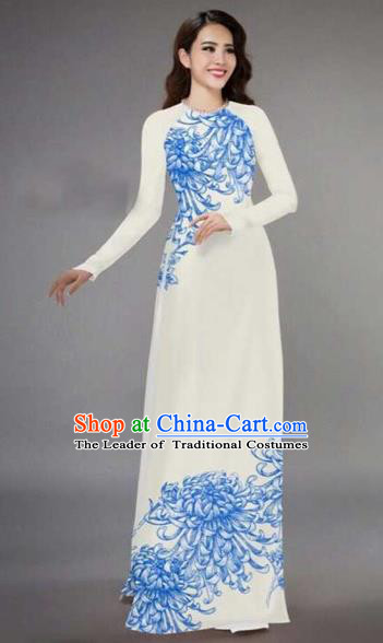 Traditional Top Grade Asian Vietnamese Costumes Classical Printing Chrysanthemum Full Dress, Vietnam National Ao Dai Dress Catwalks White Qipao for Women