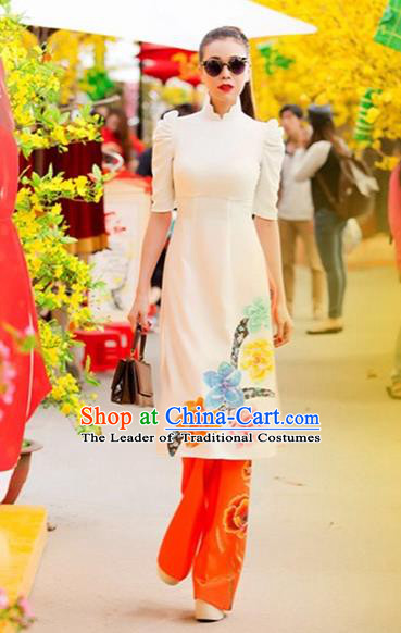 Traditional Top Grade Asian Vietnamese Costumes Classical Printing Flowers Full Dress, Vietnam National Ao Dai Dress Catwalks White Short Qipao for Women