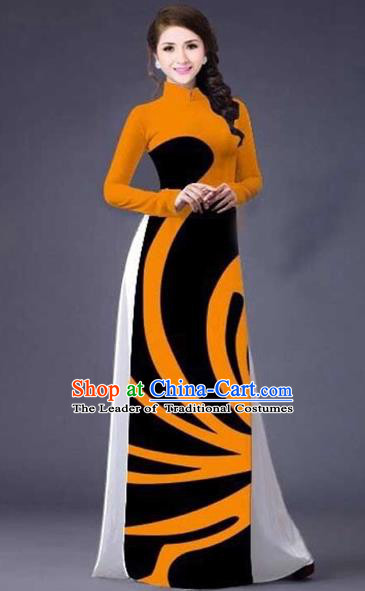 Traditional Top Grade Asian Vietnamese Costumes Classical Stripe Printing Full Dress, Vietnam National Ao Dai Dress Catwalks Orange Qipao for Women