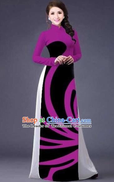 Traditional Top Grade Asian Vietnamese Costumes Classical Stripe Printing Full Dress, Vietnam National Ao Dai Dress Catwalks Rosy Qipao for Women