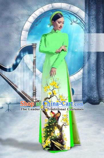 Traditional Top Grade Asian Vietnamese Costumes Classical Printing Peacock Full Dress, Vietnam National Ao Dai Dress Catwalks Debutante Green Qipao for Women