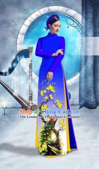 Traditional Top Grade Asian Vietnamese Costumes Classical Printing Peacock Full Dress, Vietnam National Ao Dai Dress Catwalks Debutante Royalblue Qipao for Women