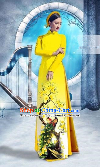 Traditional Top Grade Asian Vietnamese Costumes Classical Printing Peacock Full Dress, Vietnam National Ao Dai Dress Catwalks Debutante Yellow Qipao for Women