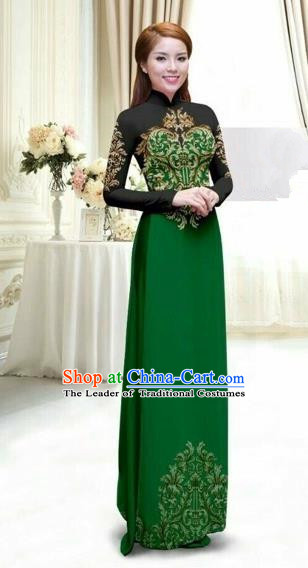 Traditional Top Grade Asian Vietnamese Costumes Classical Printing Full Dress, Vietnam National Ao Dai Dress Catwalks Debutante Lace Green Qipao for Women