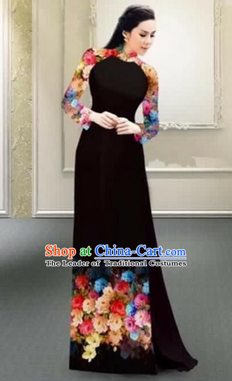 Traditional Top Grade Asian Vietnamese Costumes Classical Printing Flowers Full Dress, Vietnam National Ao Dai Dress Catwalks Debutante Black Qipao for Women
