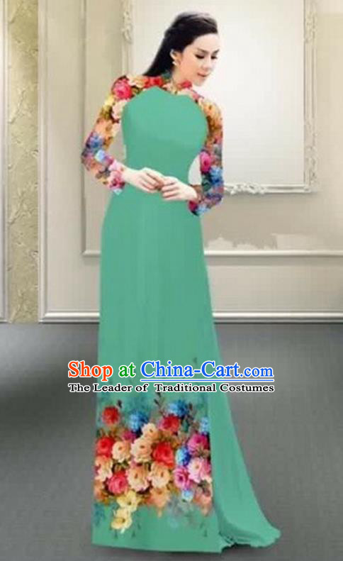 Traditional Top Grade Asian Vietnamese Costumes Classical Printing Flowers Full Dress, Vietnam National Ao Dai Dress Catwalks Debutante Green Qipao for Women